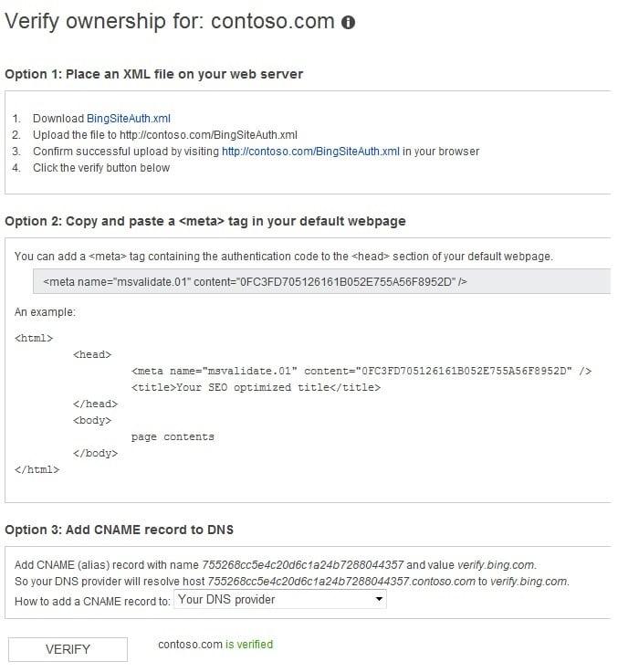 Verifying Bing Webmaster Tools