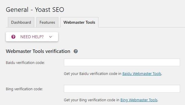 Install Bing code to verify website