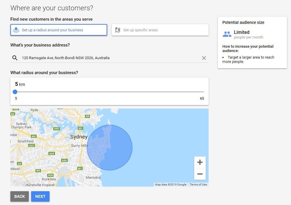 radius location smart search campaign