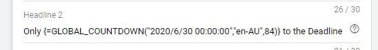 Deadline countdown in Google ads
