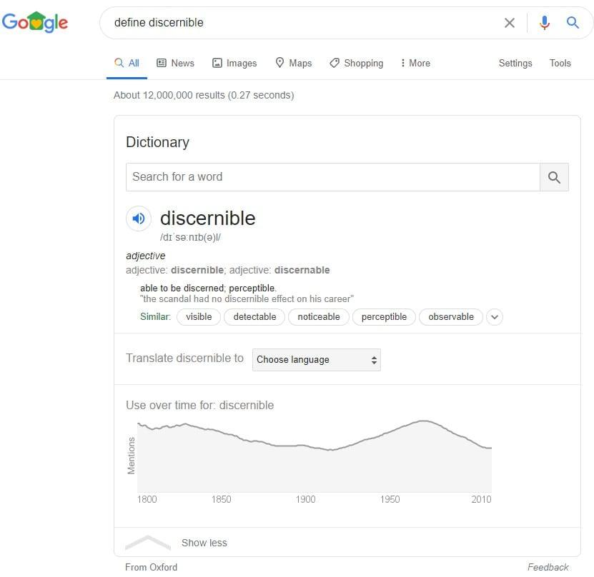Google search feature answer box