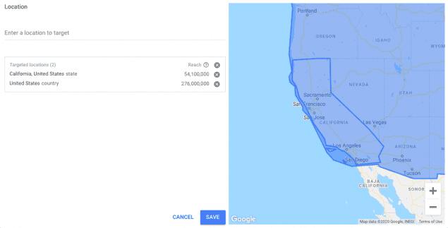 keyword planner location