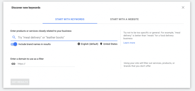 starting example from google ad keyword planner