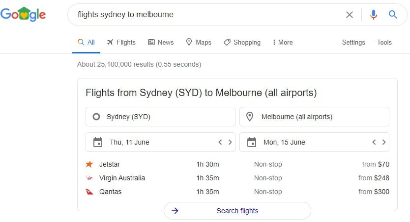 Google Search Feature - Flights